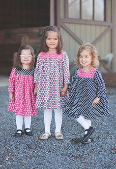 PDF Sewing Patterns, Lovely long sleeve dress is an easy and fun project! It is adorable as a dress or over leggings or even jeans. Back is designed with button closures, but could be snaps to make it even simpler. Childrens Sewing Patterns, Sewing For Kids, Little Girl Dresses, Girls Dresses, Baby Girl Dress Design, Girl Dress Patterns, Toddler Dress Patterns, Baby Kind, Sewing Clothes