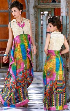 Picture of Attractive Multi Color Designer Long Kurti