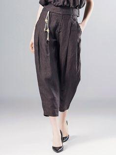 #AdoreWe #StyleWe Trousers & Shorts - Pokwai Coffee Solid Casual Linen Wide Leg Pants - AdoreWe.net