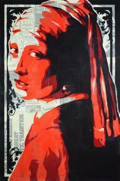 Stenciled Print of Vermeer's Girl With The Pearl Earring. $20.00, via Etsy.