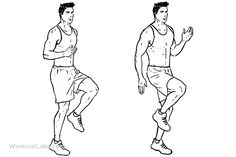 High Knees / Front Knee Lifts / Run / Jog on the Spot