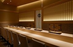 Stage of SAITO Chef, world finest Sushi Michelin 3 stars restaurant Only 8 persons can be served per a night. Restaurant Booth Seating, Restaurant Lighting, Restaurant Bar, Japanese Restaurant Interior, Japanese Interior, Tatami Room, Industrial Kitchen Design, Japanese Modern, Sushi Restaurants