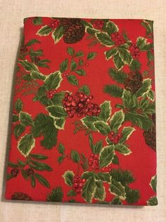 Envogue Cotton Fabric Christmas Holiday Tablecloth Red Green Floral Leaves Berries Holly Pattern 60 Inches x 102 Inches