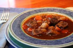 Beef stew recipe made with beef, garlic, stock, Irish Guinness beer, red wine, potatoes, carrots, and onions. An excellent, hearty stew.