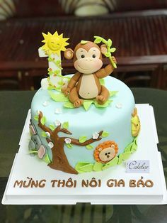 Ideas Baby Shower Ideas For Boys Themes Monkey First Birthday Parties - baby - Kuchen Jungle Birthday Cakes, Jungle Safari Cake, Jungle Theme Cakes, Monkey First Birthday, Animal Birthday Cakes, Safari Cakes, Animal Cakes, Themed Birthday Cakes, First Birthday Cakes
