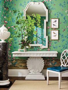 Miles Redd for Ballard Designs, Schumacher chinoiserie wallpaper, Shell Console, Queen Anne Mirror, Diamond Leather Dining Chair, Urn