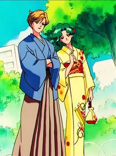 天王はるか(セーラーウラヌス)&海王みちる(セーラーネプチューン) Haruka tenoh (Sailor Uranus) and Michiru Kaioh (Sailor Neptune) wearing Kimono - Sailor Moon screencaps