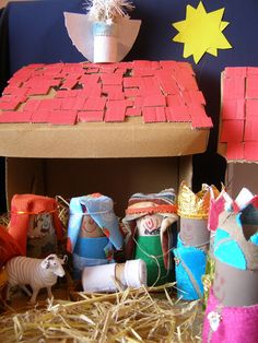 Create with your hands: Cardboard Box and Toilet Roll Nativity Scene
