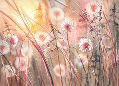 Galerie - Kategoria: Akwarela - kwiaty - Zdjęcie: Dmuchawce i ciepły wieczór
