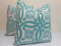 "Aqua-  cream Outdoor  Decorative Pillow Cover  - Sunbrella Fabric- Duralee fabric 20"" x 20""...$48.00"