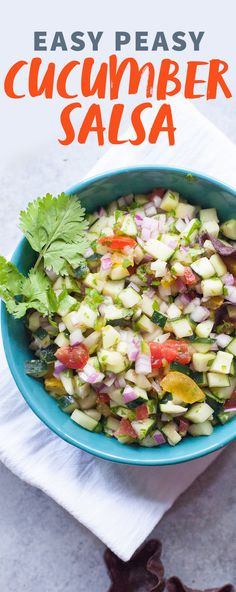 Cucumber Salsa : Use your bounty of cucumbers in this crisp, cool, and spicy Cucumber Salsa Recipe. It pairs perfectly with lighter fare! Vegan | Gluten Free Wholefully