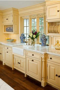 Beautiful Kitchen Cabinets Pictures as Stylish Kitchen Inspirations: Marvelous Traditional Kitchen Cabinets Pictures Used Cream Furniture Wi. Kitchen Inspirations, Yellow Kitchen, French Country Kitchen, Kitchen Remodel, Kitchen Decor, New Kitchen, Country Kitchen Designs, Home Kitchens, French Country Kitchens