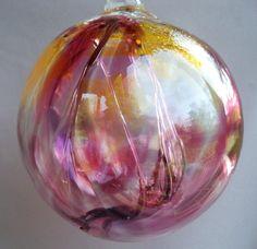 Hand Blown Art Glass Witch Ball/Ornament/Suncatcher - trap negativity inside