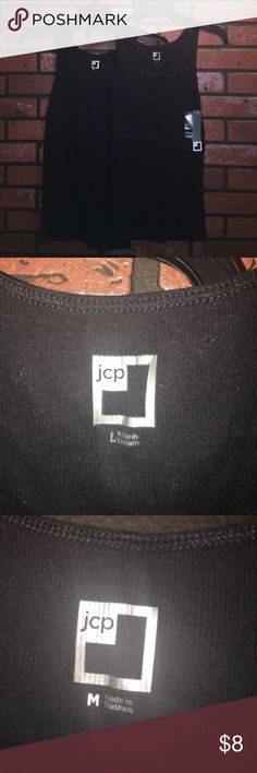 NWT Jcpenny Tanks This is a bundle of two tanks from jcpenny, one is new with tags size large, the other is size medium worn once. Both are black in color. jcpenney Tops Tank Tops