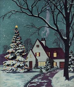 1930 Cover Art - BH 39 Newer Older This cover art illustration was done by Seymour Snyder for Better Homes & Gardens for the Christmas issue. Merry Christmas, Christmas Scenes, Winter Christmas, Christmas Holidays, Christmas Cover, Christmas Morning, Winter Snow, Happy Holidays, Vintage Christmas Images