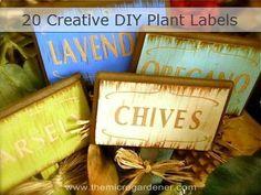 20 Creative DIY Plant Labels & Markers - The Micro Gardener Diy Garden, Garden Crafts, Garden Projects, Garden Ideas, Diy Projects, Indoor Garden, Backyard Ideas, Garden Labels, Plant Labels