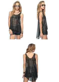 High-Low Metallic Spots Top from Forever21