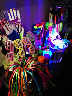 Bringing Up Burns: Molly's NINTH Neon Glow in the Dark Dance Birthday Party - Neon Accessories Bar
