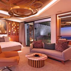 A cosy, luxurious bedroom, stunning decor and a beautiful sea view ─ what more could you want? Villa, Beautiful Bedrooms, Outdoor Furniture, Outdoor Decor, Cosy, Curtains, Sea, Luxury, Modern