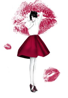 Fashion Illustration 'Mwah by BeckiBoos' by Rebecca Elliston aka BeckiBoos