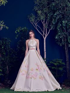 Hamda AlFahim Fall Winter 2016 Light Beige Ball Gown with Floral Hand Paint