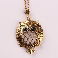 Gold Chain Pendant Necklace Owl Pendant  //Price: $11.99 & FREE Shipping //     #hermionegranger #dumbledore #malfoy #jamespotter #voldemort