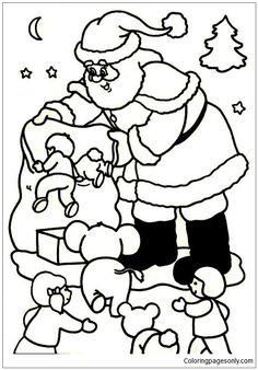 Santa Claus Asks The Christmas Gifts Jumping Into Bag Coloring Page