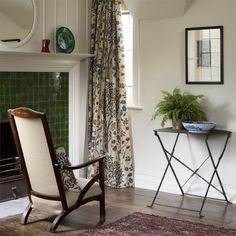 Shop for Fabric at Style Library: Kelmscott Tree by Morris & Co. Kelmscott Tree is a new design by Alison Gee. Inspired by Morris bed curtains at . Guest Bedroom, British Design, Home, Single Doors, Curtains, William Morris, New Interior Design, Arts And Crafts House, Tree Curtains