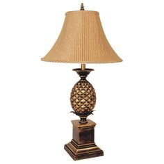 ORE International 32 in. Pineapple Antique Gold Table Lamp
