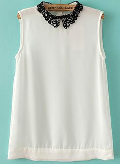 White+Contrast+Hollow+Lapel+Sleeveless+Chiffon+Blouse+US$24.80
