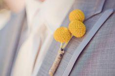 Boutonnieres: 3 yellow billy balls