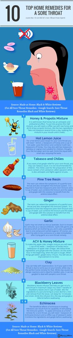 Sore throat remedies that give a fast relief. Learn how to get rid of a sore throat by using honey, propolis, hot lemon juice, Tabasco and chilies, pine tree resin, ginger, garlic, apple cider vinegar, clay, blackberry leaves, and echinacea. All the recipes are homemade and DIY (do it yourself).