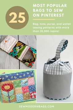 The most popular bag, purse, tote and wallet sewing patterns on Pinterest. All of these bag sewing patterns have at least 20,000 repins, sometimes much more. The best bag sewing patterns to sew on Pinterest. #SewModernBags