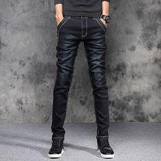 Homme Coton Mince Skinny   Mince   Jeans Pantalon - Couleur Pleine Bleu    Fin de semaine de 2018   US  20.7 22d101de440