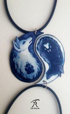 Schwarz weiß Yin Yang Wolf eckzahn geistige Dualität paar Bond Freundschaft paar Valentine Metal Halskette Anhänger