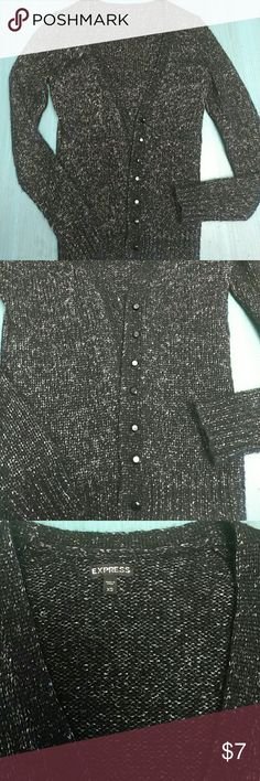 Express black spark sweater cardigan wool blend xs Black and silver cardigan, beautiful detail, glass jewel buttons. This sweater has been worn, good condition. Express brand but came from TJmaxx. Wool/acrylic blend. Fairly thick, warm. Express Sweaters Cardigans