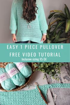 1 Piece V Stitch Pullover - MJ's off the Hook Designs - Knitting Projects Easy Crochet, Crochet Hooks, Free Crochet, Knit Crochet, Crochet Jumper Free Pattern, Crochet Humor, Crochet Mandala, Crochet Things, Crochet Afghans