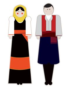 illustrations based on the traditional garments of Greece.Goal of the project is to present each regional costume in a modern way using basic shapes but close to the originals forms, colors and patterns. Basic Shapes, Motor Activities, Fine Motor, Greece, Costumes, Traditional, The Originals, Behance, Projects