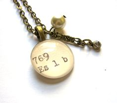 Dewey Decimal Necklace with Vintage Glass Pearl and by writtennerd, $35.00
