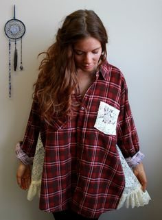 flannel shirts with lace   Red Plaid Flannel and Lace Babydoll Oversized Heart Applique Trapeze ...