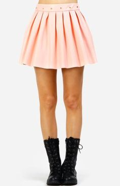 Spike Waist Faux Leather Skirt in Pink