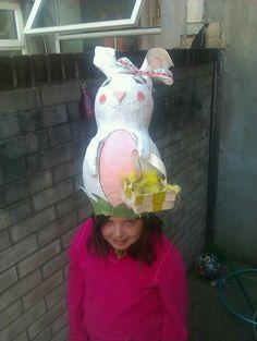 Handmade Easter bunny bonnet hat, a gigantic amazing paper mache creation!