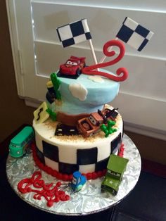 Lighting McQueen themed Happy Birthday Cake