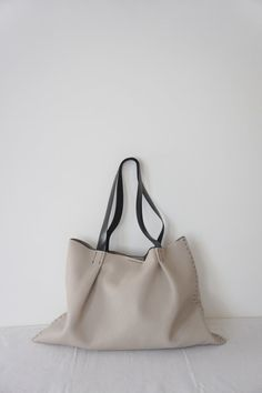 Odeon Leather  Bag  Light Stone / Cream by stitchandtickle on Etsy, $295.00