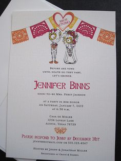 Day of the Dead Fiesta wedding shower invitations by The Inviting Pear