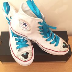7e9398fa08ecb Adults Minnie Mouse Style white Crystal Converse wirh Turquoise bow and  Ribbon Bling High Tops. Bling ConverseConverse Chuck TaylorHigh ...