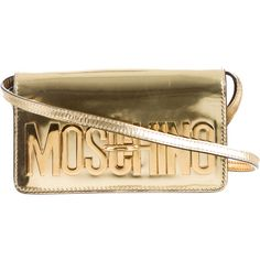 Pre-owned Moschino Logo Patent Leather Clutch (388.400 CLP) ❤ liked on Polyvore featuring bags, handbags, clutches, gold, patent leather handbags, man bag, moschino purse, patent handbags and gold metallic handbags