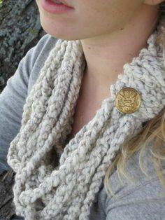 Cream Colored Infinity Scarf Crochet Chain Infinity by luluBdesign, $20.00