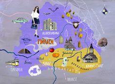 Illustrated Map of Siebenbürgen aka Transylvania