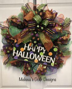 Halloween Deco Mesh, Halloween Wreaths, Happy Halloween, Door Design, Home Decor, Decoration Home, Room Decor, Home Interior Design, Home Decoration